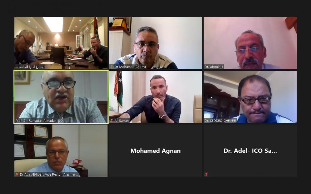 اتحاد الجامعات المتوسطية UNIMED يجتمع مع رؤوساء الجامعات ومدراء مكاتب التعاون الدولي بالجامعات الليبية